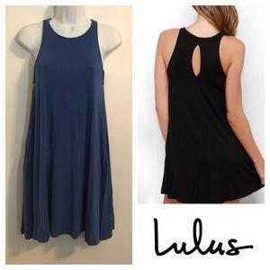 Lulu's slate blue jersey knit dress. Size medium